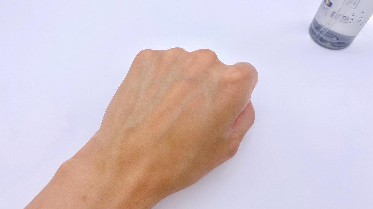 オルビスミスターの化粧水「ローション」を塗り終わった後の肌