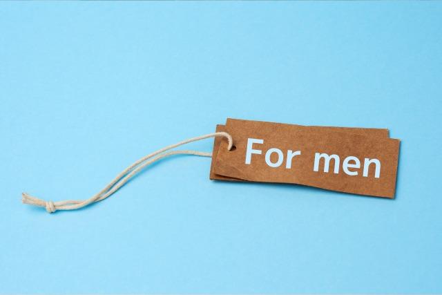 「For men」と書かれたタグ