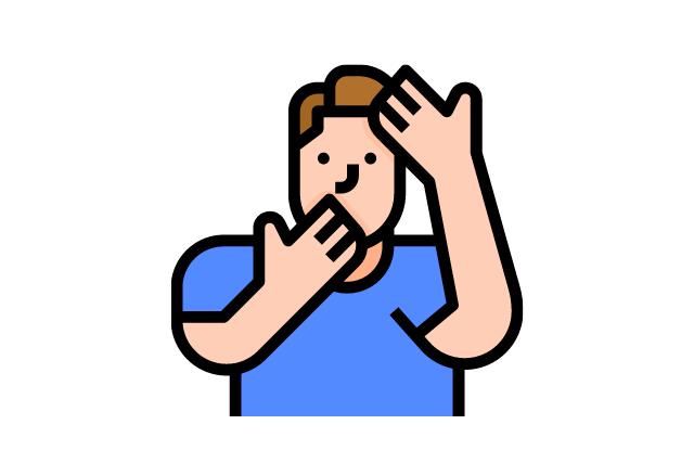 不潔な手で自分の顔を触る男性