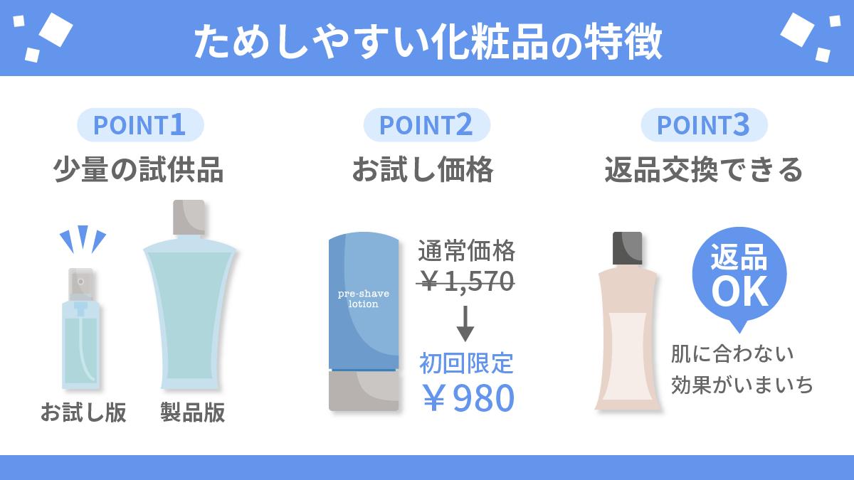 ためしやすい化粧品(スキンケア用品)の特徴